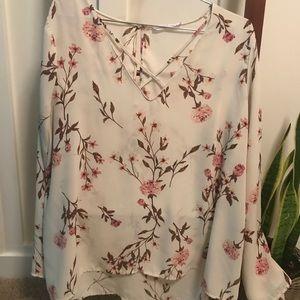 Lush long sleeve floral print blouse